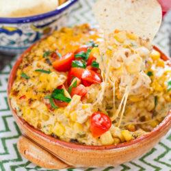 Spicy Cheesy Corn and Tomato Dip