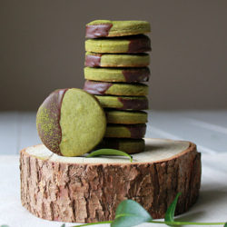 Chocolate dipped matcha shortbread
